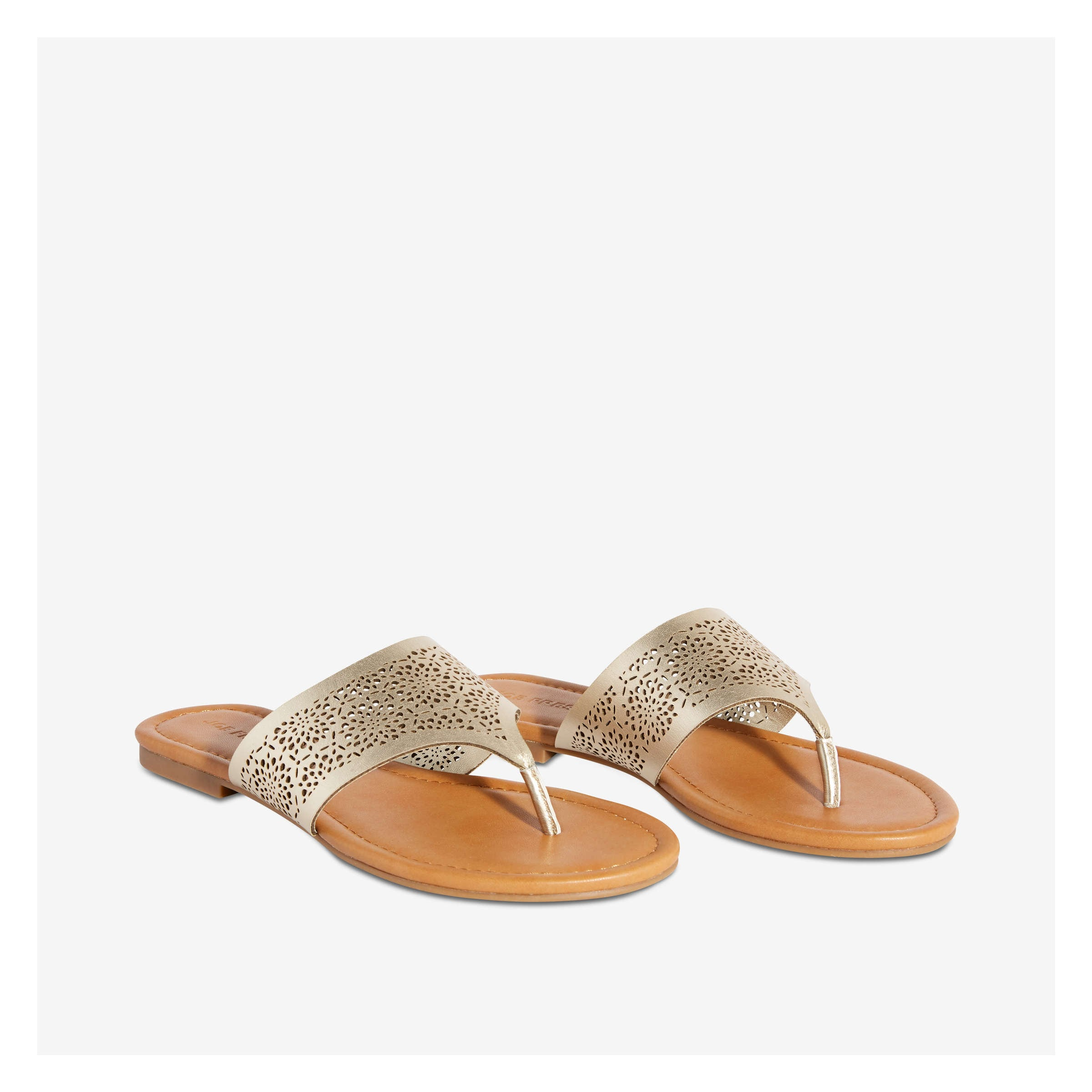 1bf4021e6f3b Laser Cut-Out Thong Sandal in Light Gold from Joe Fresh