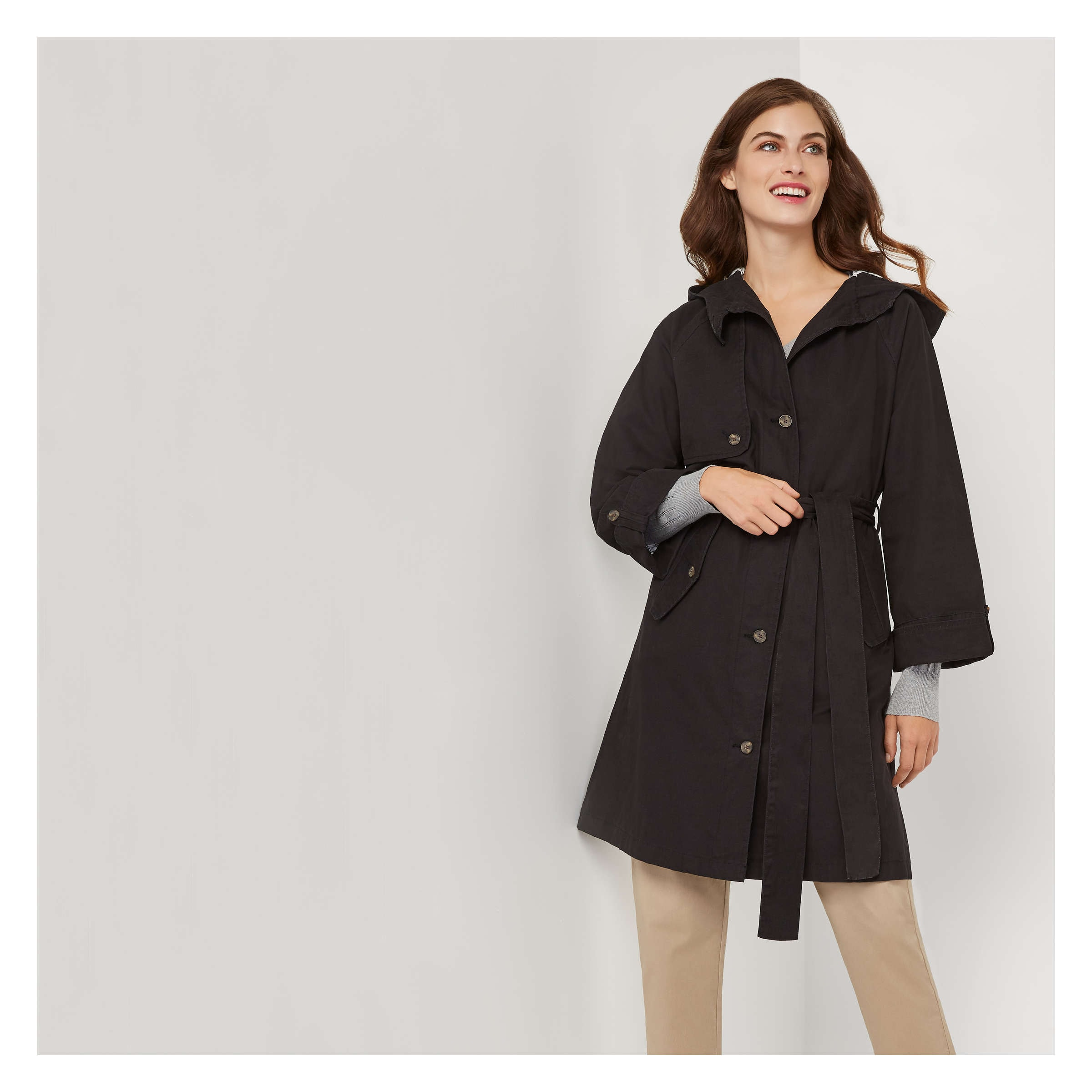 d2f5040f5e252 Hooded Trench Coat in JF Black from Joe Fresh