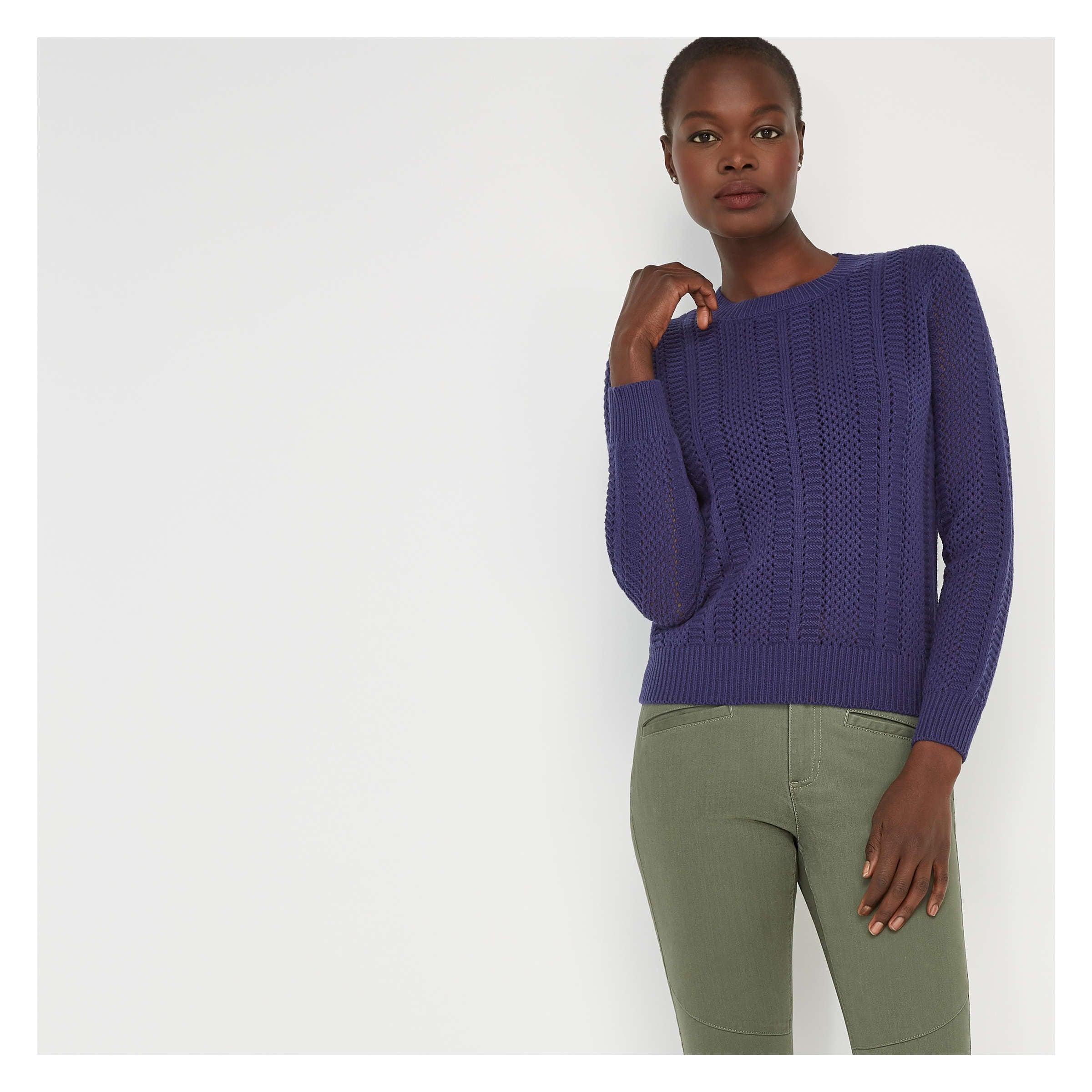 1f7557b6f9d Open Stitch Sweater in Dark Blue from Joe Fresh