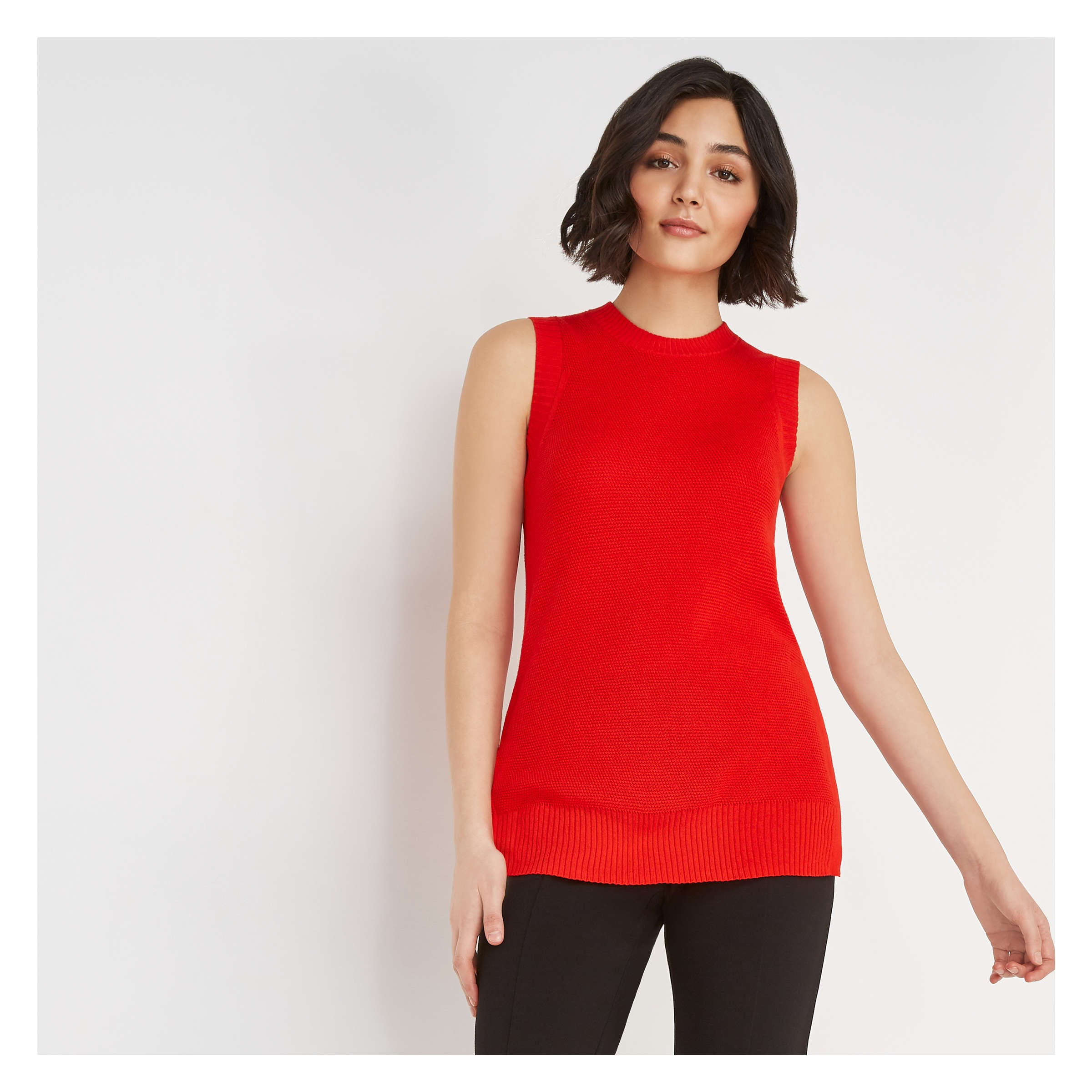 f294f0515a2 Sleeveless Tunic Sweater in Fire Red from Joe Fresh