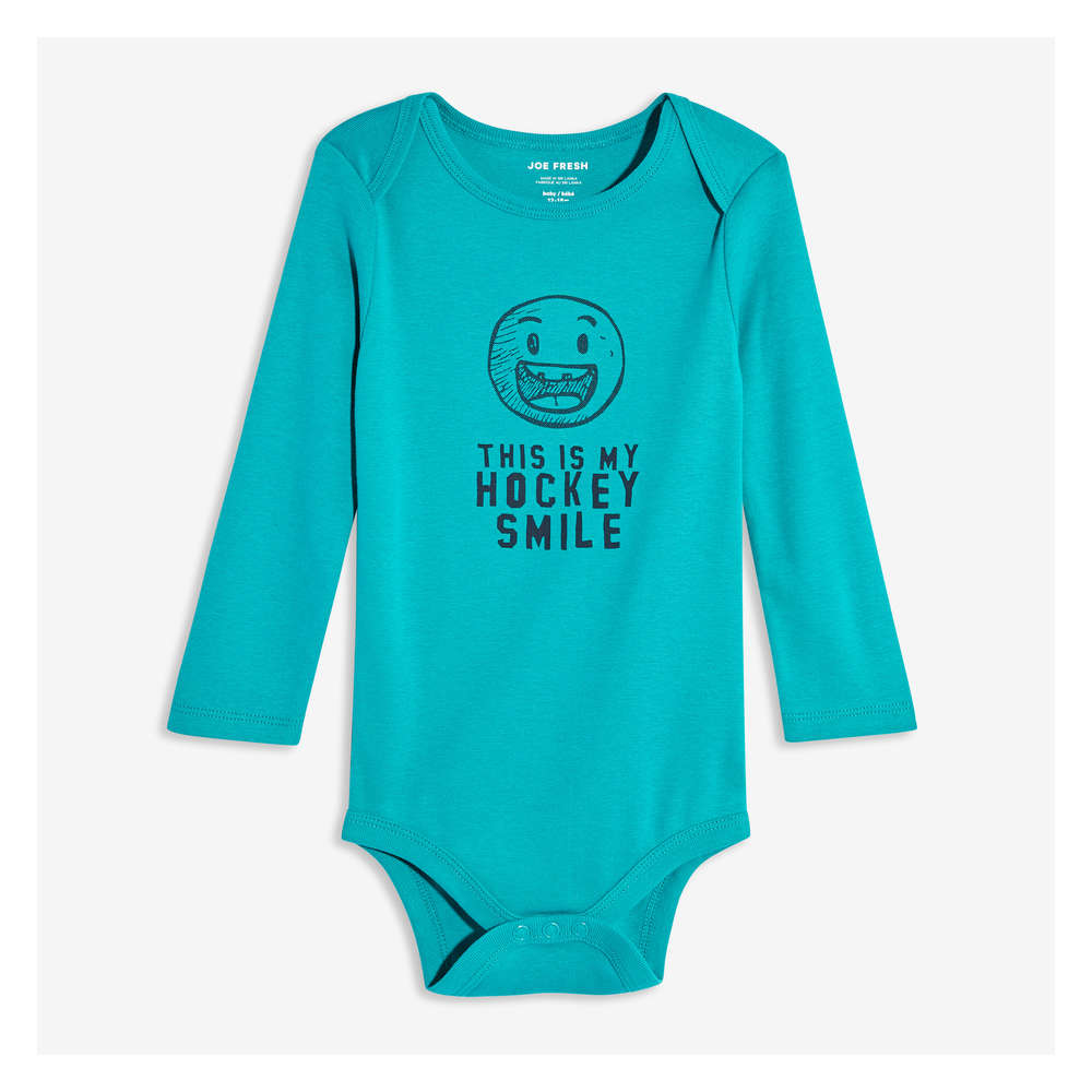 61bce5a6b Baby Boys  Long Sleeve Graphic Bodysuit in Turquoise from Joe Fresh