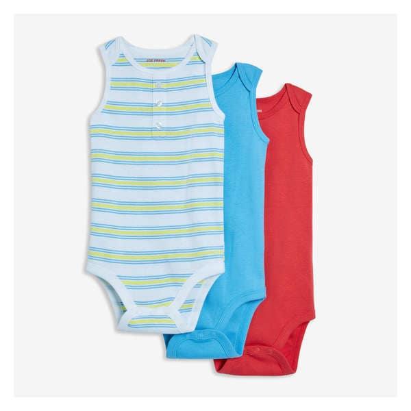 03f766b2 Baby Boys' 3 Pack Sleeveless Bodysuits
