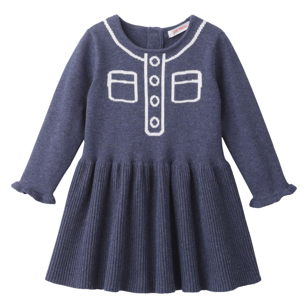 0b4376cdb94 Baby Girls  Print Sweater Dress in Dark Blue Mix from Joe Fresh