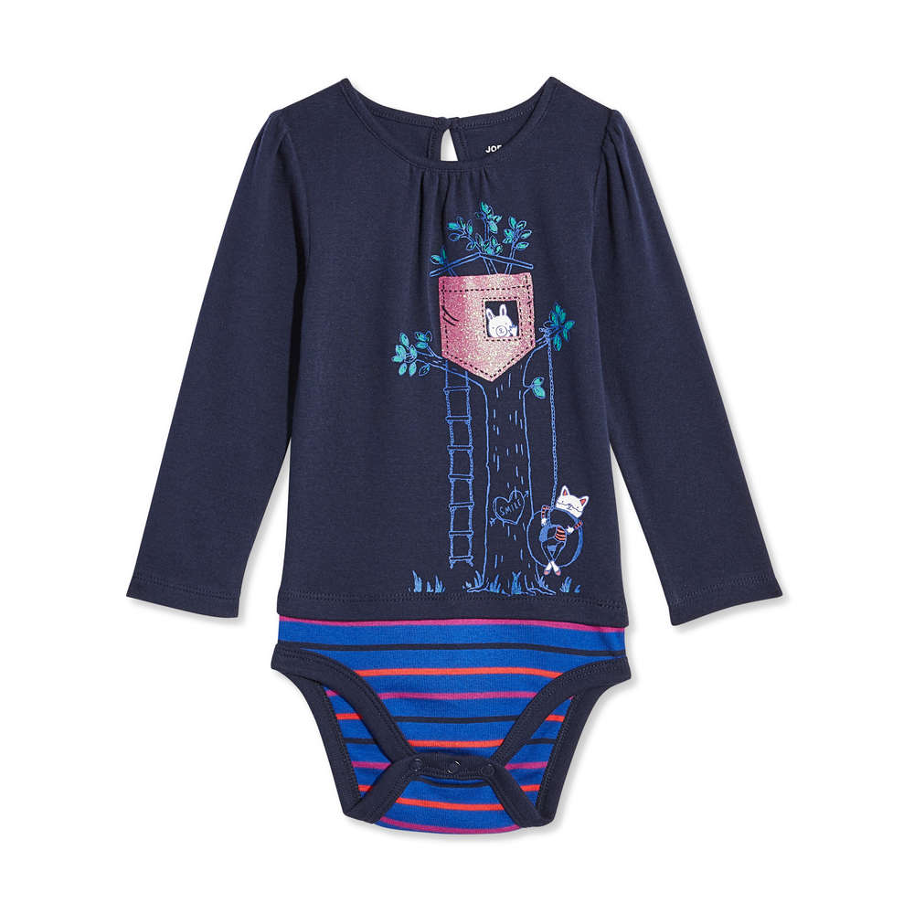 ab482f88eae Baby Girls  Long Sleeve Floral Bodysuit in JF Midnight Blue from Joe ...