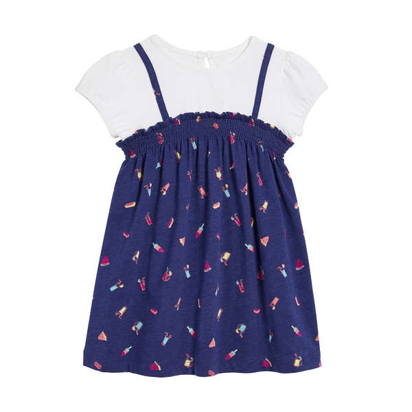 e61cfcb84ee White · Dark Blue · Baby Girls  Smocked Dress