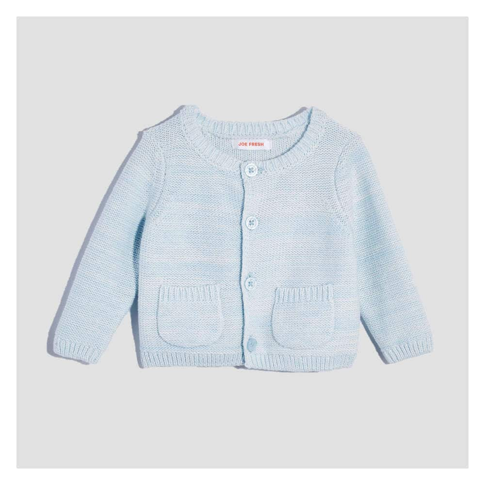 5719bf90f Baby Newborn Knit Cardigan in Light Blue Mix from Joe Fresh