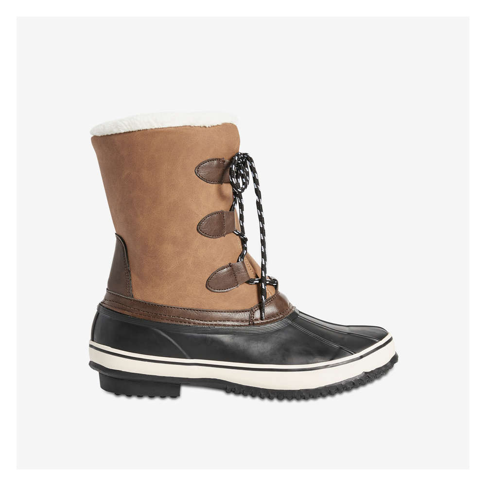 Lace-Up Snow Boots in Light Brown from