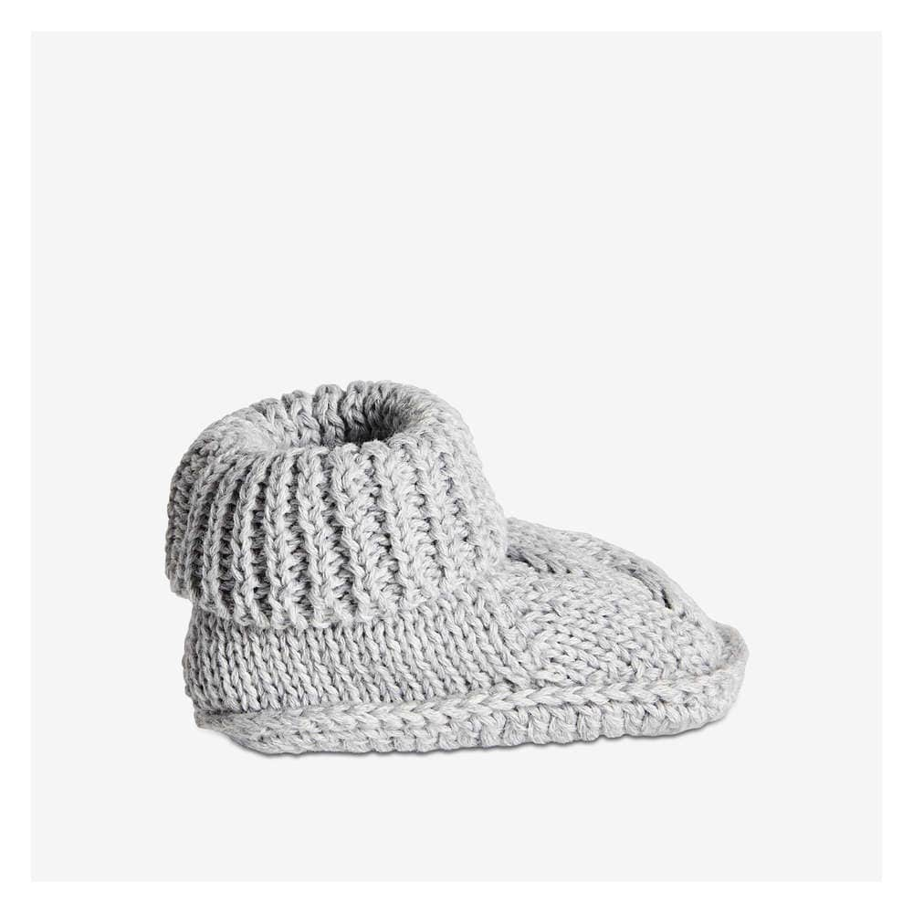 Baby Boys' Knit Booties in Light Grey