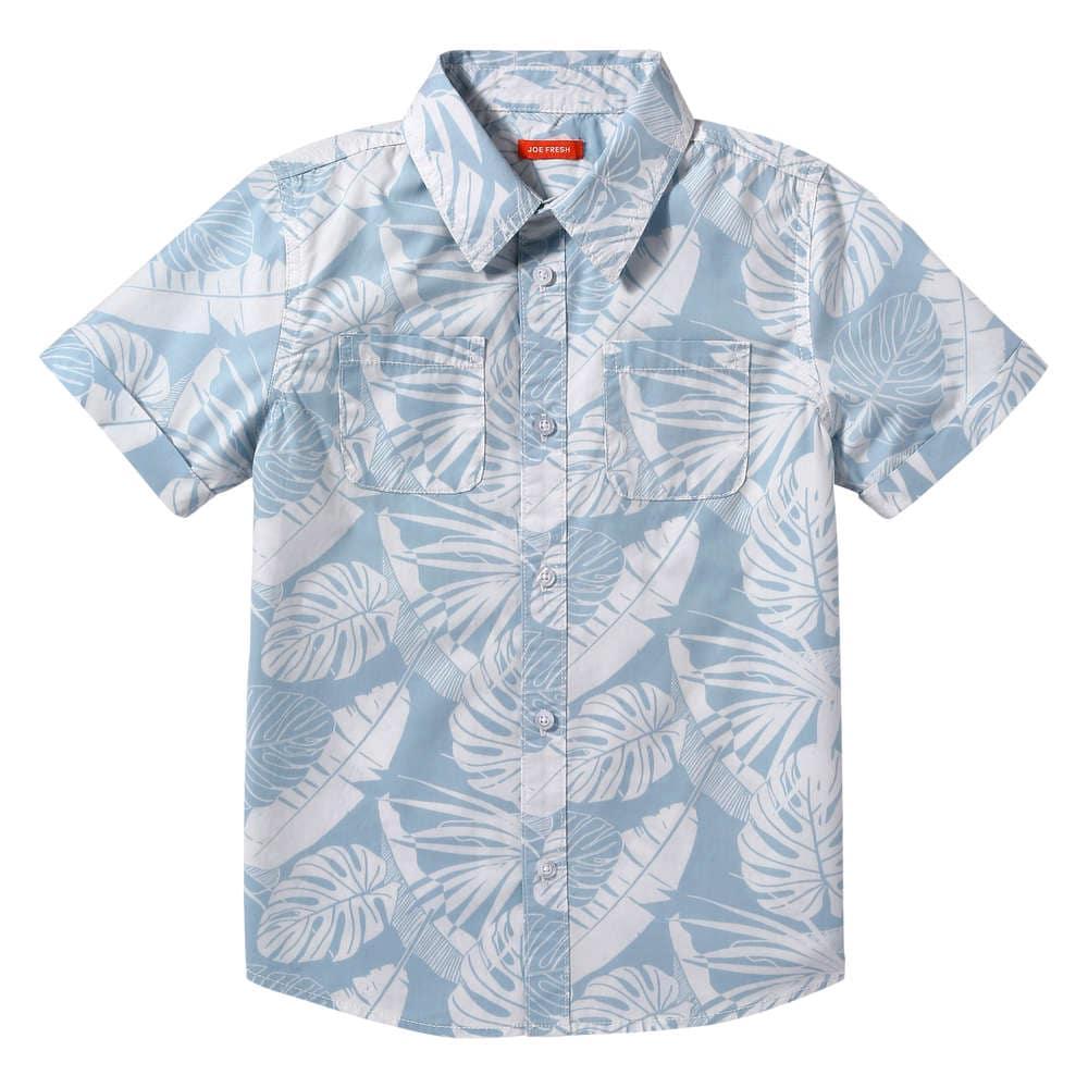 31e5fa02a Kid Boys' Hawaiian Button Down Shirt in Light Blue from Joe Fresh