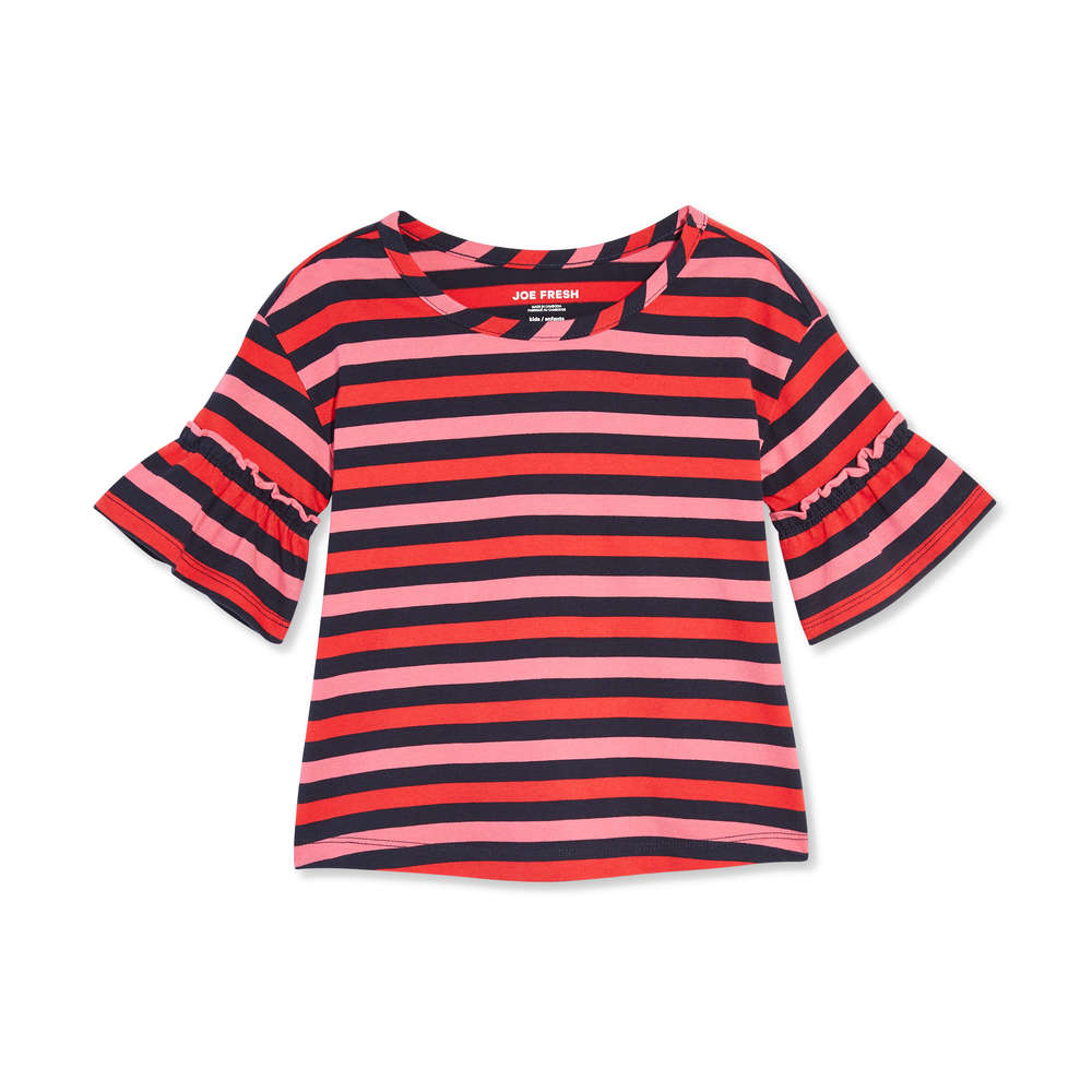 e7801fcca736d Joe Fresh Kid Girls' Stripe Flounce Sleeve Tee