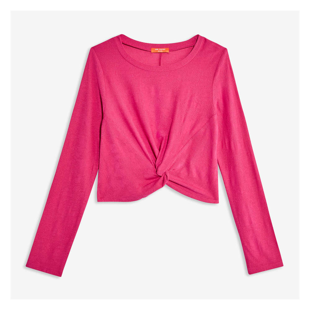 a3bb6a324d3 Kid Girls' Long Sleeve Crop Top in PINK Flamingo from Joe Fresh