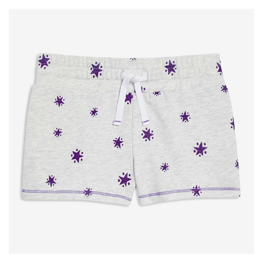 3978e9d759f25 Kid Girls' Print French Terry Shorts in Pale Grey from Joe Fresh