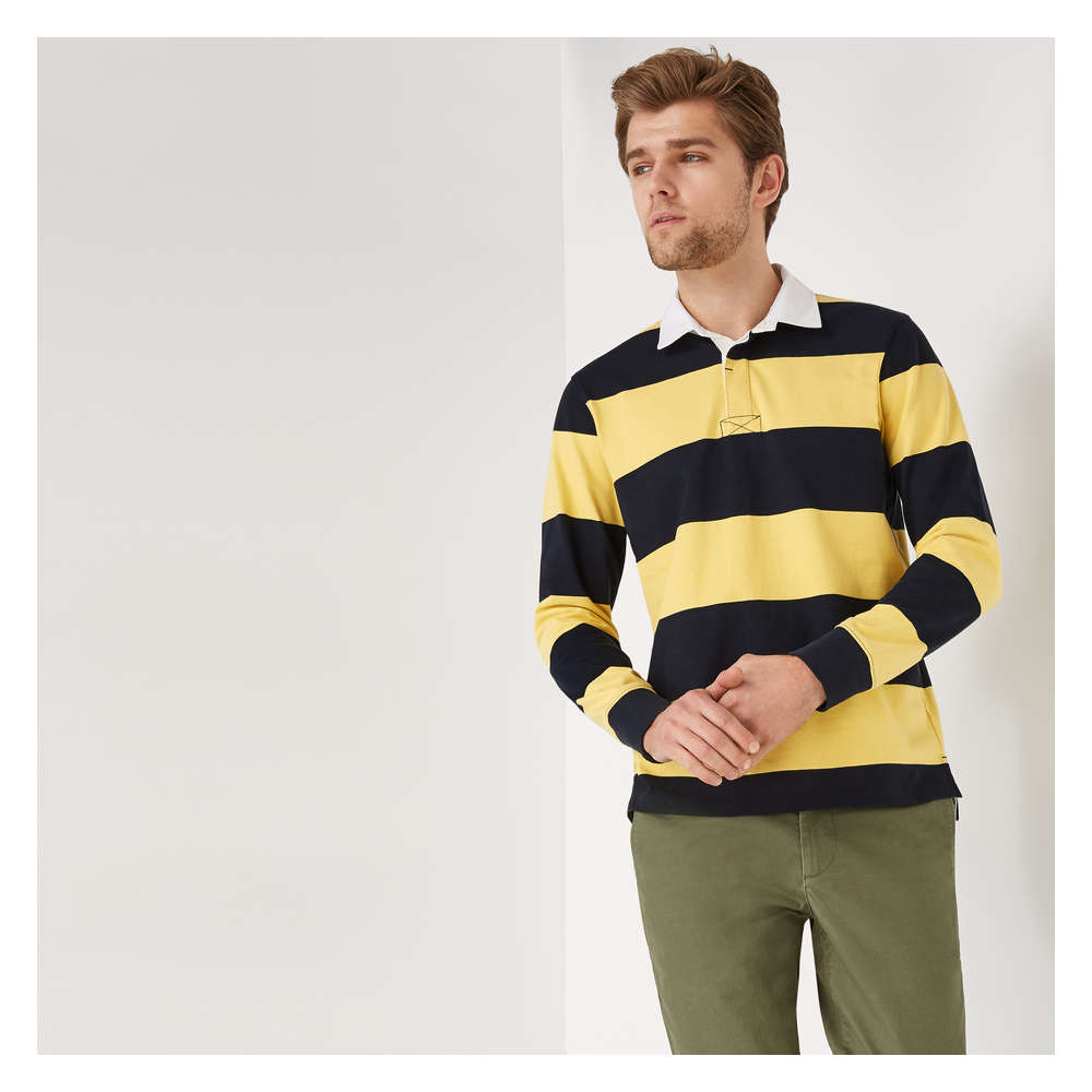 14eed0a02a52a Men s Long Sleeve Rugby Stripe Polo in Dusty Yellow from Joe Fresh
