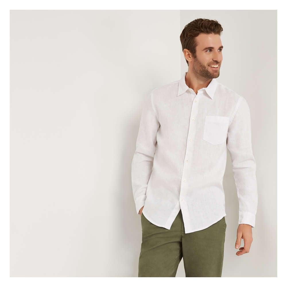 b619b8880be Men s Long Sleeve Linen Shirt in White from Joe Fresh
