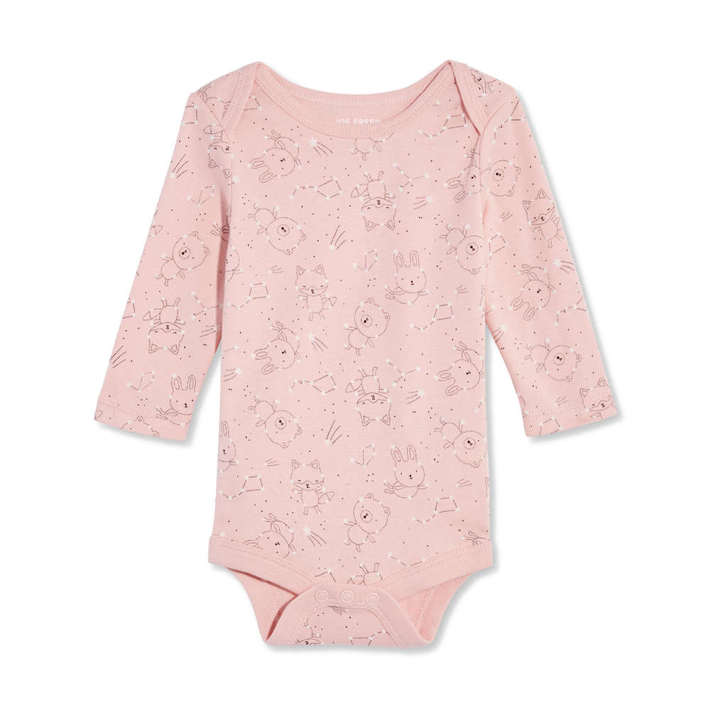 e2d1ec9ade Newborn Long Sleeve Bodysuit in JF Perennial Pink from Joe Fresh