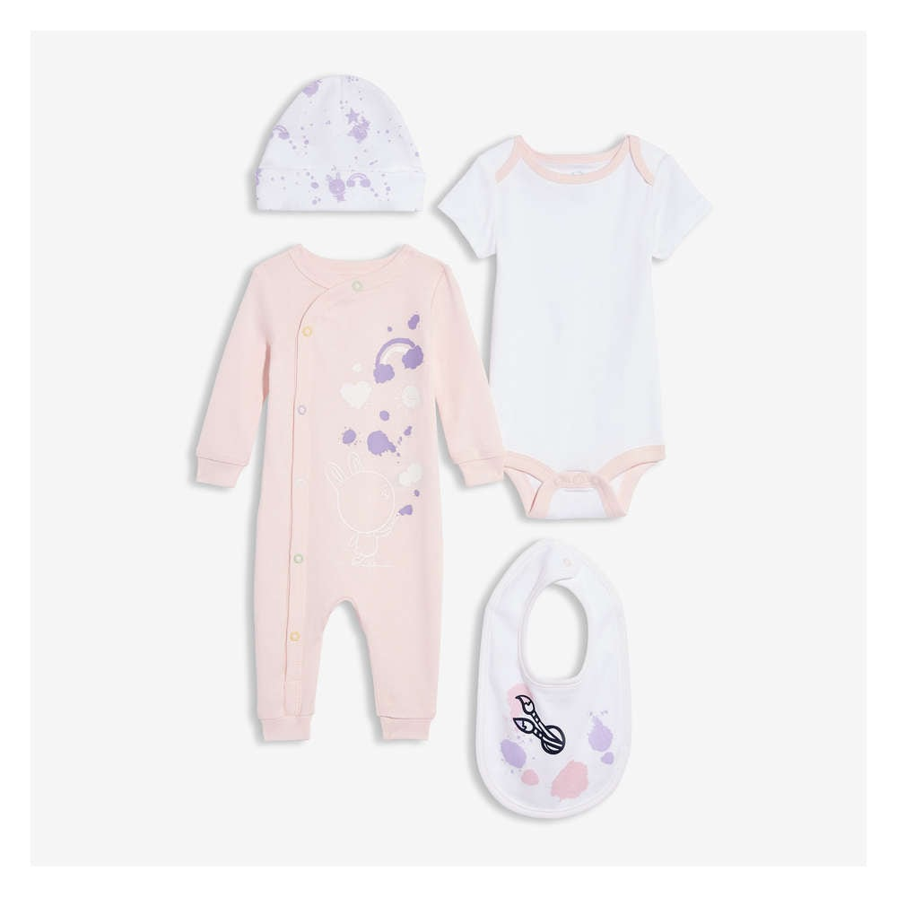 8f4ff263db Newborn 4 Piece Set in Powder Pink from Joe Fresh