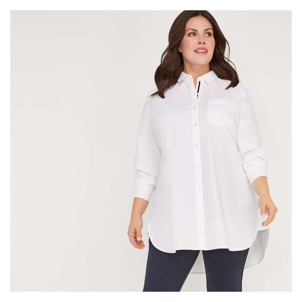 2fce66894c8 Women+ Oxford Tunic Shirt in White from Joe Fresh