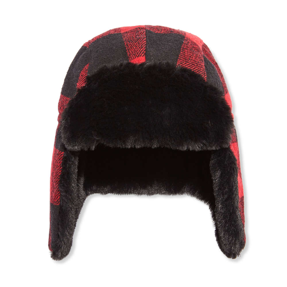 Toddler Boys  Plaid Trapper Hat in Red from Joe Fresh 838bcf878c1
