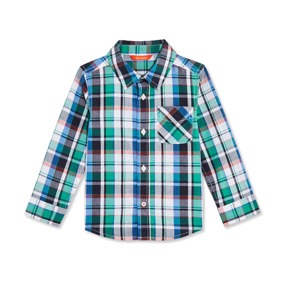 Toddler Boys Long Sleeve Plaid Shirt In Grass Green From Joe Fresh