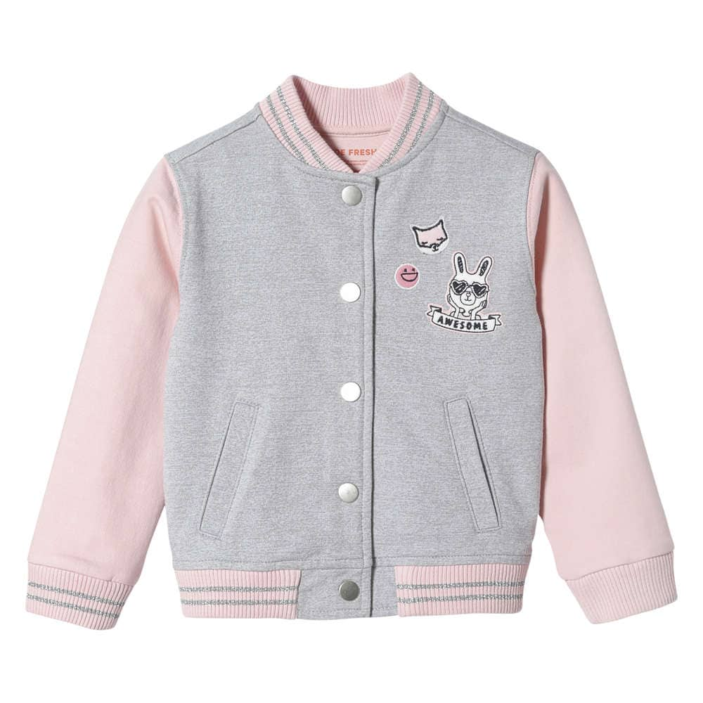 2240ec2ad Toddler Girls  Graphic Varsity Jacket in Light Grey Mix from Joe Fresh