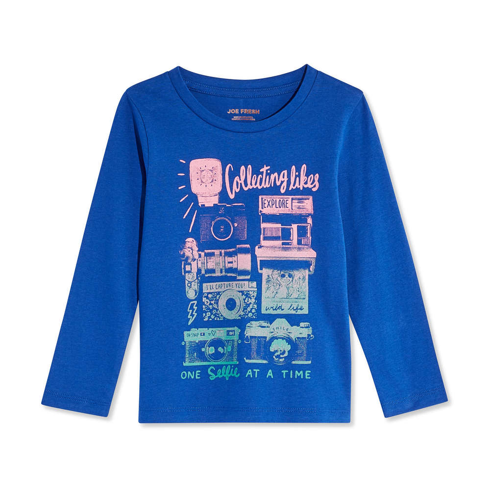 a64142215 Toddler Girls' Long Sleeve Graphic Tee in Royal Blue from Joe Fresh
