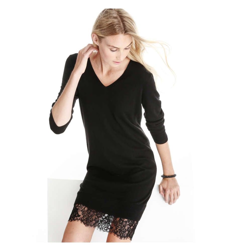 Lace Hem Sweater Dress In Black From