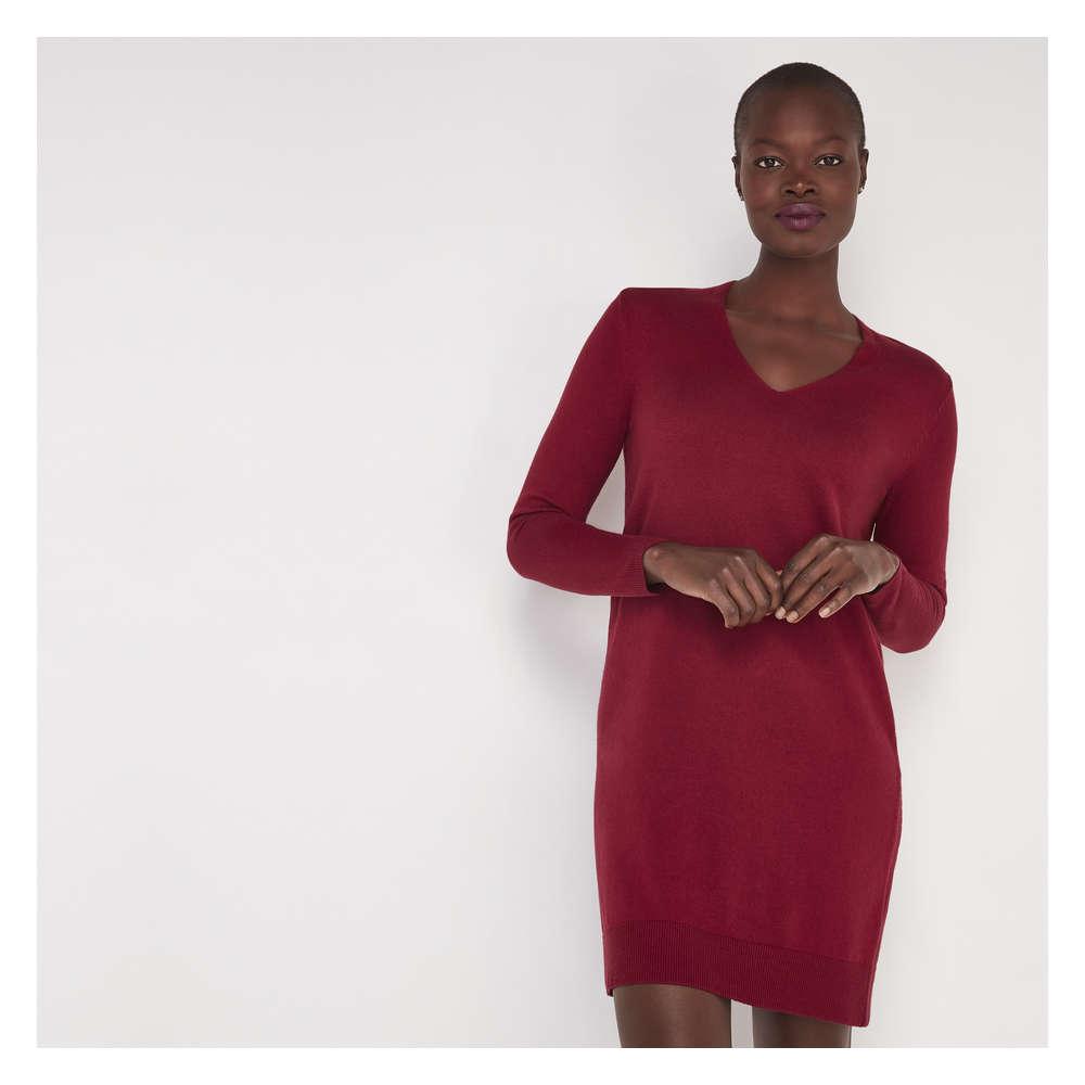V Neck Sweater Dress In Burgundy From