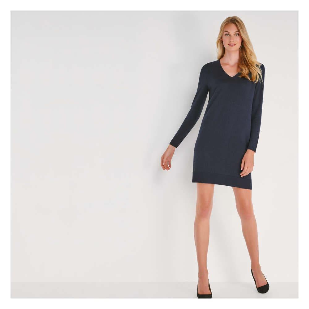 V Neck Sweater Dress In Jf Midnight