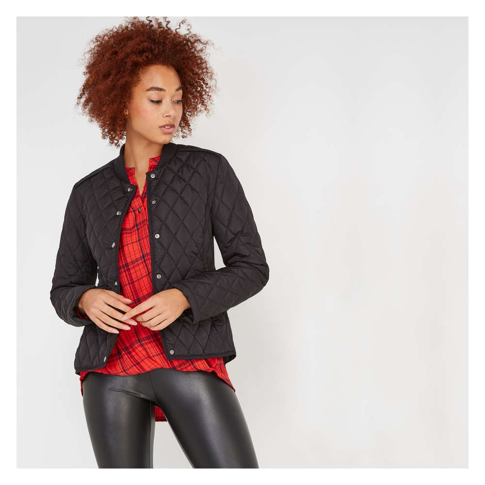 b5f4a3496 Quilted Bomber in JF Black from Joe Fresh