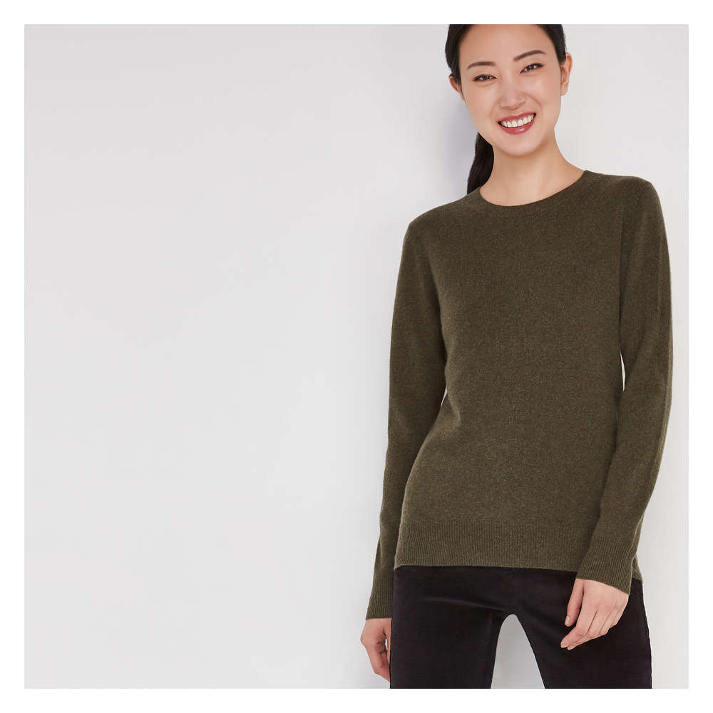 d7aeeaabed Cashmere Sweater in Olive from Joe Fresh