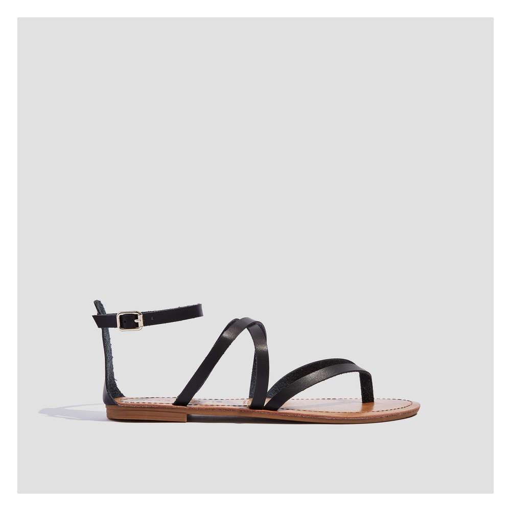 d4f0f916699e Cross-Strap Sandals in Black from Joe Fresh