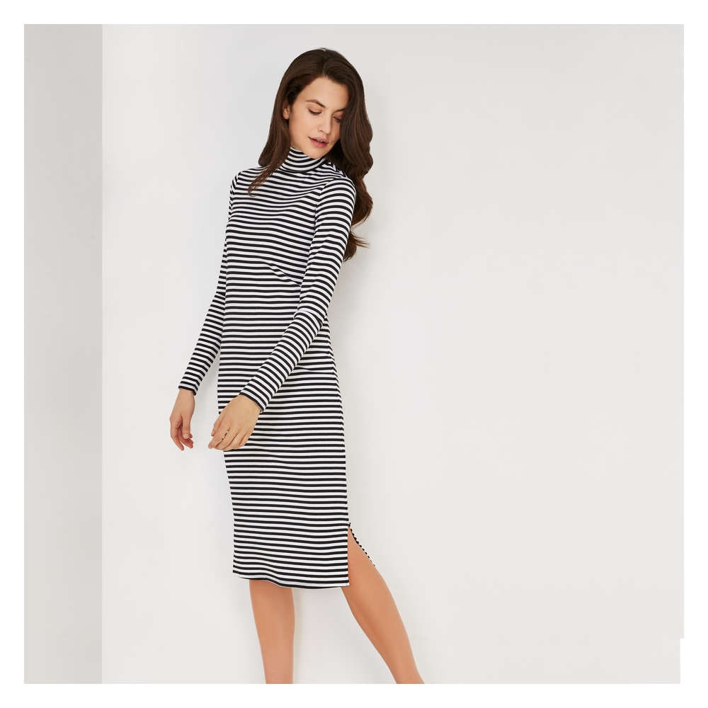 715b817b5db Stripe Turtleneck Dress in Clean White from Joe Fresh