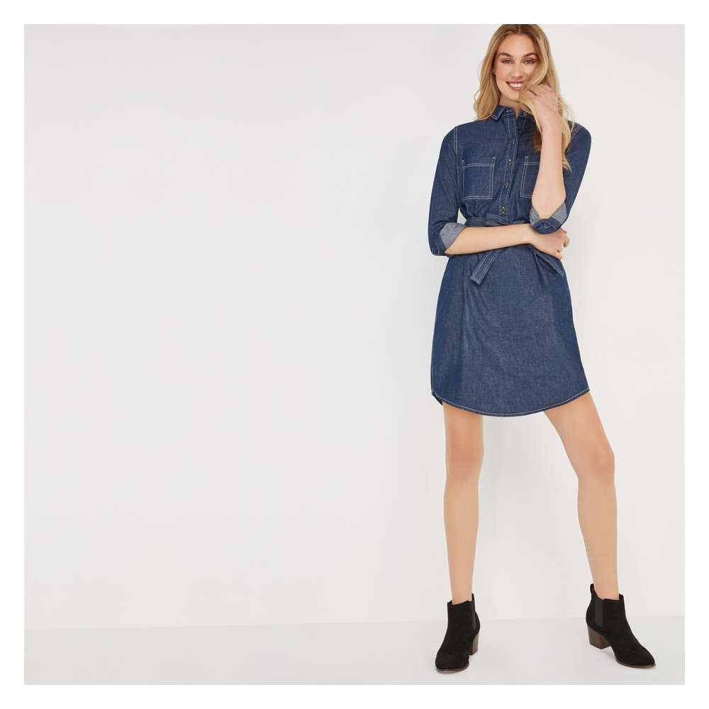 a9b54d2d9c5d Denim Shirt Dress in Dark Rinse from Joe Fresh
