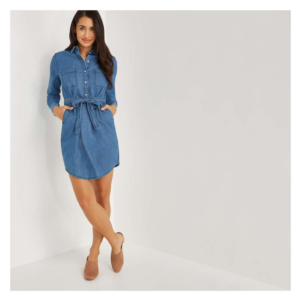 e2339438d8 Denim Shirt Dress in Medium Wash from Joe Fresh