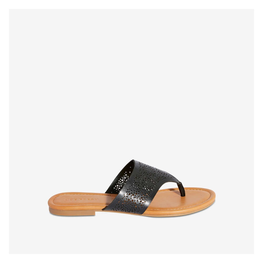 4ccc515ce147 Laser Cut-Out Thong Sandal in Black from Joe Fresh