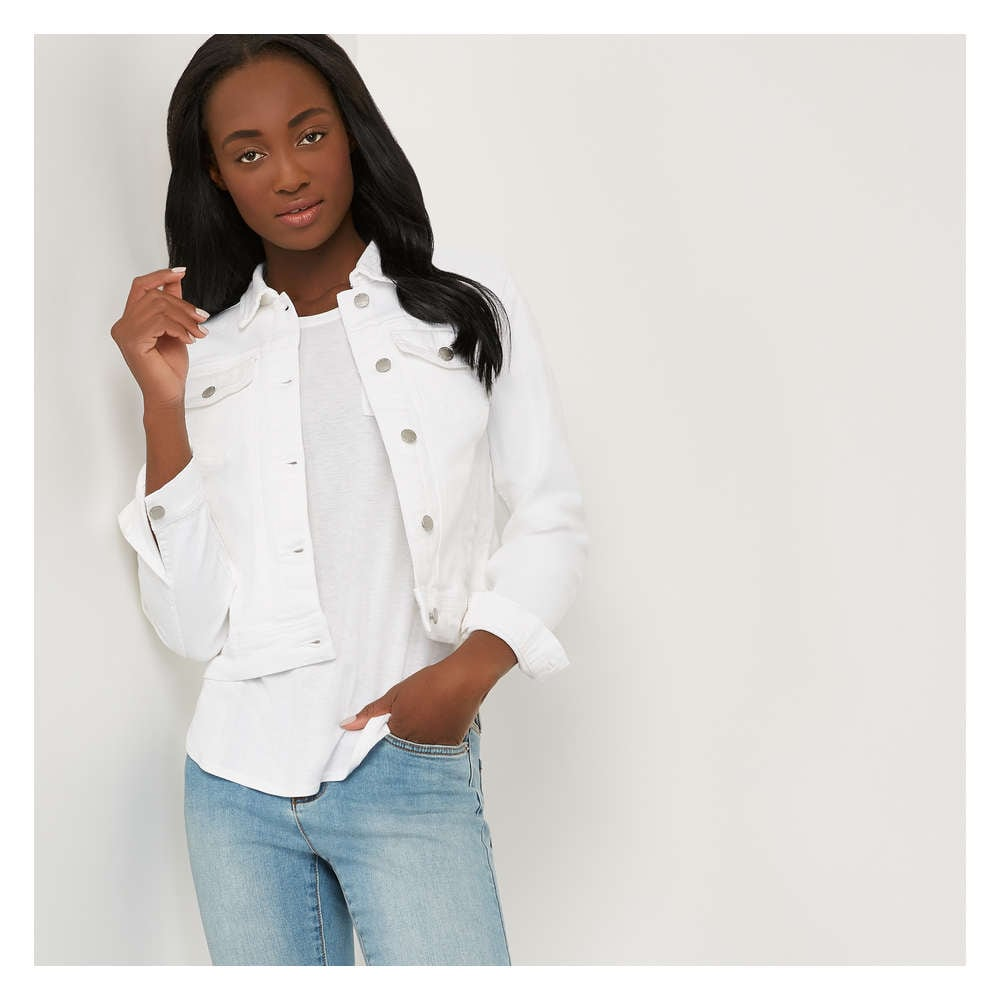 buy preview of wide range White Denim Jacket in White from Joe Fresh