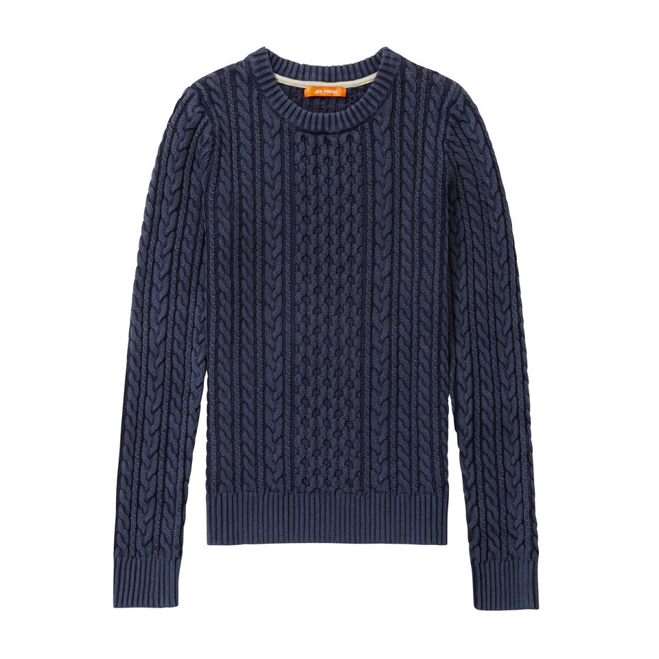 Cable Knit Sweater in Navy from Joe Fresh