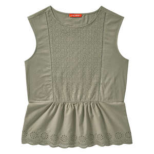 Embroidered Peplum Tank